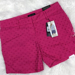 Hot Pink Eyelet Tailored Short Size 4 F99P